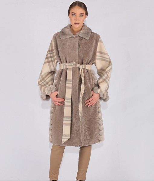 Shearling And Luxury Cashmere Striped Coat