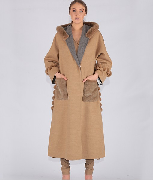 Luxury Cashmere Hooded Coat Beige