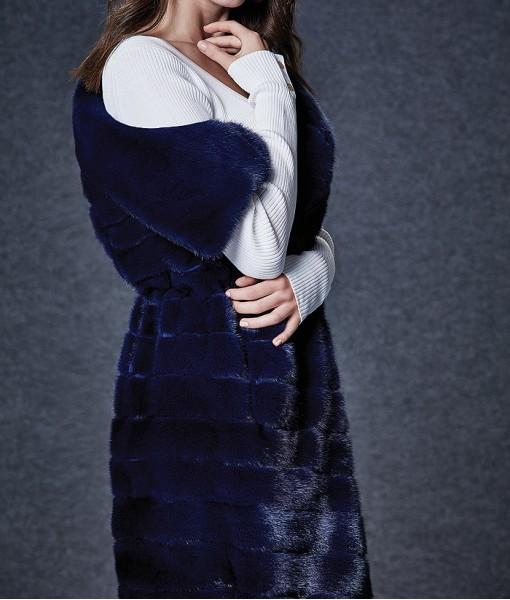 Blue Dyed Mink Vest