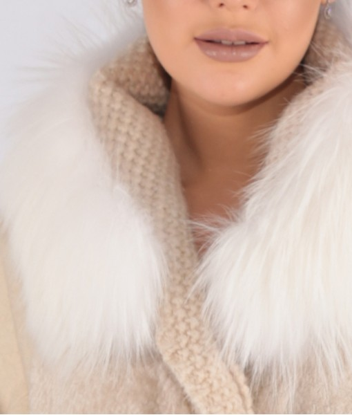 Luxury Cashmere Coat with Mink