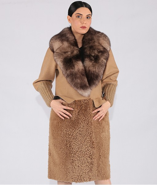 Luxury Cashmere Coat With Shearling