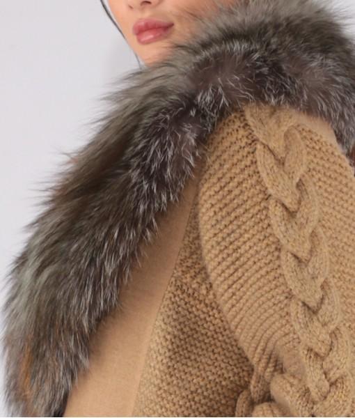 Luxury Cashmere Coat With Fox Collar