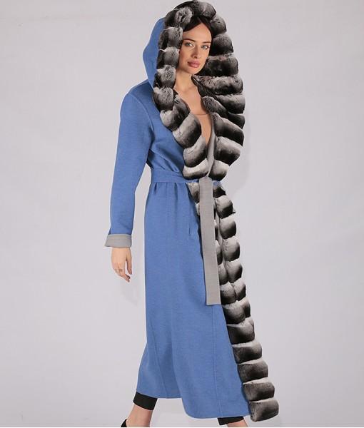 Long Hooded Coat light blue