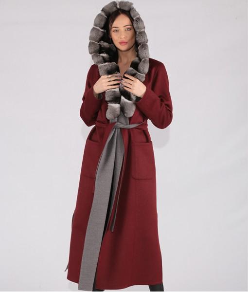 Long Hooded Coat Dark Red