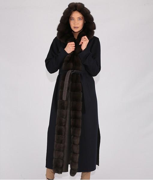 Luxury Cashmere Hooded Coat Black