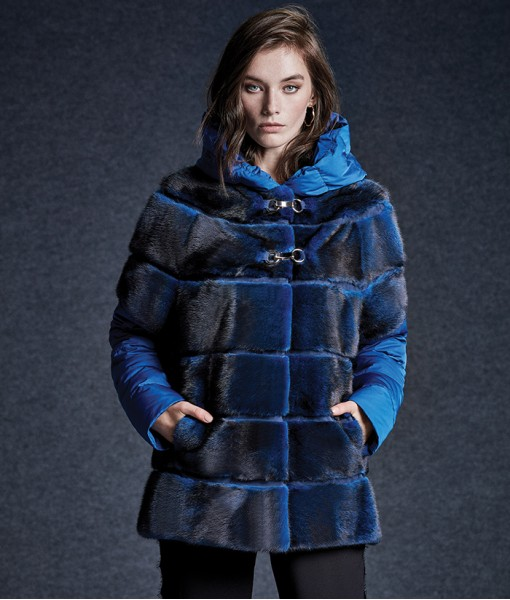Mink Hooded Jacket Blue